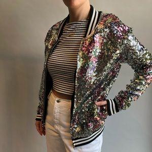 Pink Victoria's Secret sequined bomber jacket